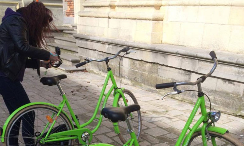 Vi lejede cykler på interrail i Brügge