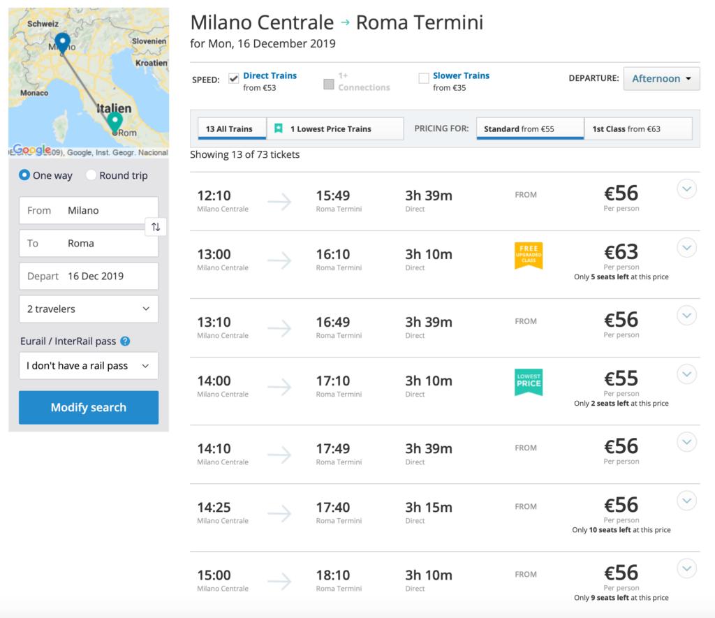 Oversigt over togforbindelser i Italien