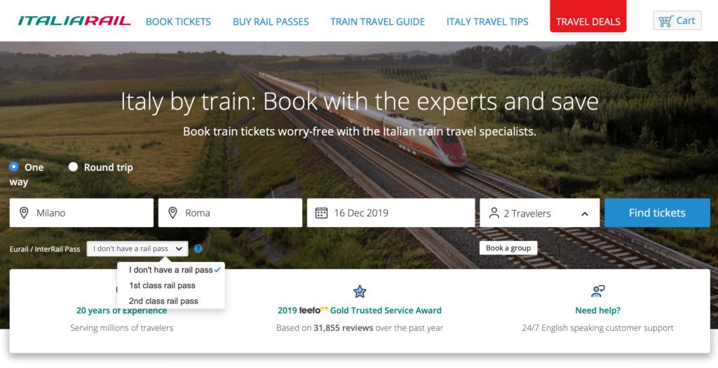 Søgeformular til tog i Italien