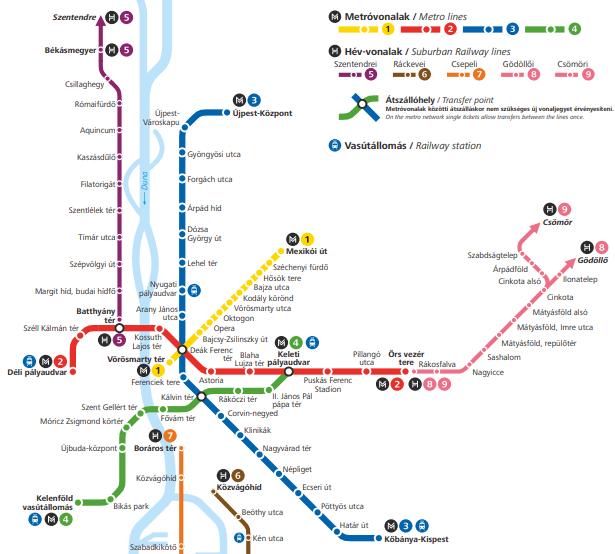 Kort over metroen i Ungarn