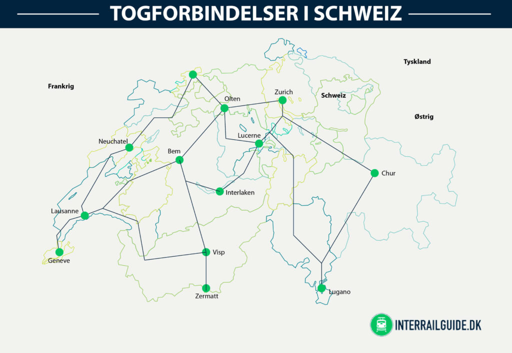 Togkort eller jernbane kort over Schweiz