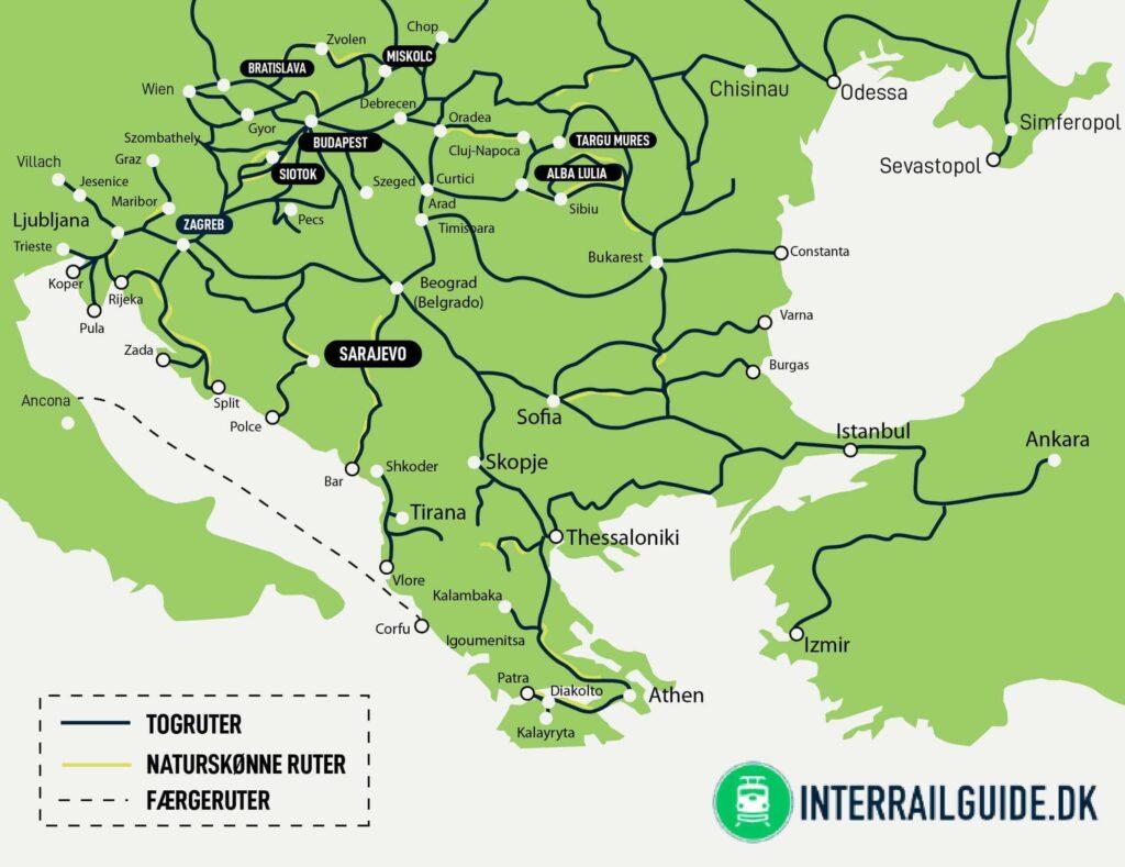Loglinjer og togkort over Kroatien